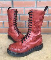 Rare Dr Martens Women 5 US 36 EU 3 UK High Boots 14 eye Swirl Stitch Skulls Curl