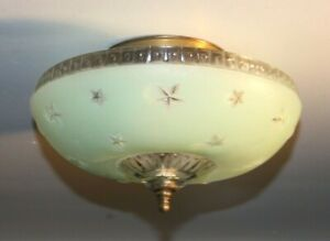 Antique jadeite green glass stars flush mount art deco light fixture ceiling