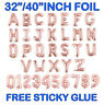 "32""40""Giant RoseGold Foil Number Letter Self Inflating Ballon Birthday Age Party"