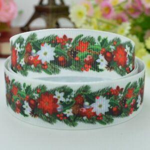 "5 Yards 7/8"" 22mm CHRISTMAS Grosgrain Printed Pattern Ribbon Craft Decortion"