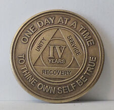 Alcoholic 4 Year Recovery -One Day Chip-Medallion Coin Medal Token  AA Anonymous