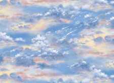 BEAUTIFUL BLUE SUNSET SKY CLOUDS LANDSCAPE FABRIC