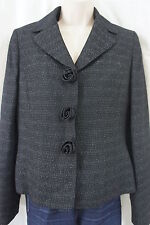 "Le Suit Blazer Sz 4 Black White ""Time to Shine"" Business Cocktail Dinner Jacket"