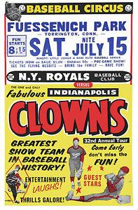 "Negro League Baseball Poster NY Royals vs Indianapolis Clowns - 6.5"" x 10"" Photo"