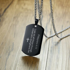 Black Men Necklace Pendant Dog Tag Cross Bible Verse Philippians 4:13 Prayer