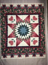 Vtg Cheaters Quilt Panel Star Blue Pink