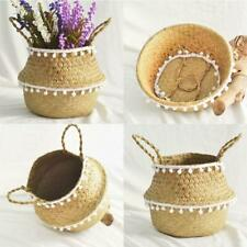Handmade Rattan Bellied Basket Foldable Plant Flower Pot Storage Container