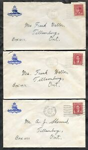 p566 - PETAWAWA CAMP 1942 MPO 305 Lot of (3) Covers from Soldier to Tillsonburg