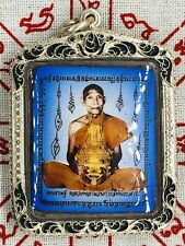 Thai Khmer Buddhist Amulet LP Waen Gai Locket In Custom Silver Case 2 Tarkuts