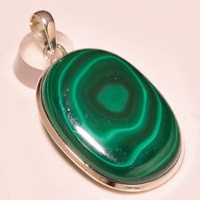Collares y colgantes de joyería con gemas de plata de ley malaquita, belleza