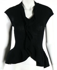 GIVENCHY Black Ribbed Cotton Ruffle Trim Sleeveless Knit Peplum Top S