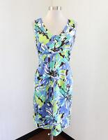 Tahari ASL Levine Blue Green Vibrant Floral Sleeveless Sheath Dress Sz 2 Office