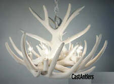 Pure White – Cast Cascade Whitetail 9-Antler Chandelier 6-Lights  Made in USA