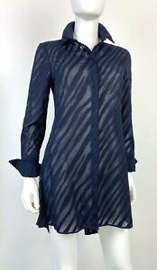 Akris Black Label New 4 US 40 IT S Navy Cotton Sheer Dress Button Runway Auth$2K