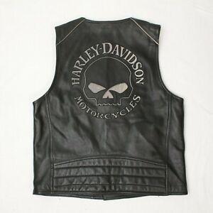 Harley Davidson Leather Vest Willie G Size L Black Reflective Skull Jacket VG+