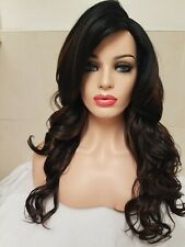 Dark Brown with Light Highlights Human hair lace wig