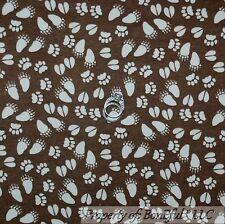 BonEful Fabric FQ Cotton Quilt Flannel Brown Cream BEAR Animal Paw Print Camp US
