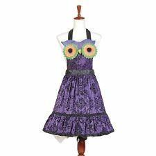 Women's Purple Owl Gothic Pinup Girl Apron Halloween Retro Vintage Style Costume