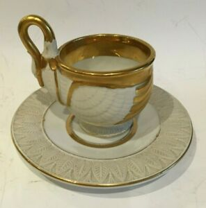 Exquisite Antique  Bisque & Gilt Swan Cabinet Cup and Saucer