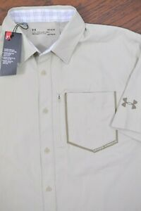 NWT Under Armour High Tide SS Button Front Shirt Khaki Men's Large L