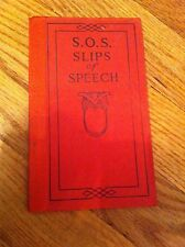 S.O.S. SLIPS OF SPEECH AND HOW TO AVOID THEM 1922 Book FUNK AND WAGNALLS Sos OLD