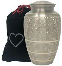 Platinum Adult Urn - Silver Adult Cremation Urn - Hand Engraved