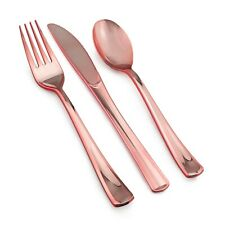 600 Piece Rose Gold Plastic Silverware Set - 200 Forks, 200 Knives & 200 Spoons