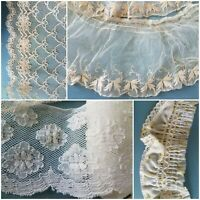 Antique Lace Trim Lot Tambour Embroidered Net Floral Doll Flounce VTG Smocking