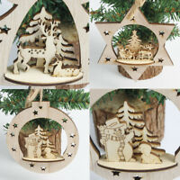 Christmas Wooden Carving Ornament Xmas Tree Hanging Pendant Home Room Decor Hot