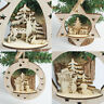 Christmas Wooden Carving Ornament Xmas Tree Hanging Pendant Home Room Decor UK