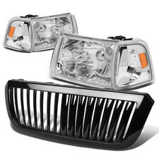 FOR 04-05 FORD RANGER CHROME HEADLIGHT+AMBER CORNER LIGHT+GRILLE GUARD COVER