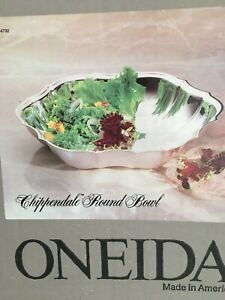 "Vintage Oneida Silver Plate Round Chippendale 10.38"" Bowl New"