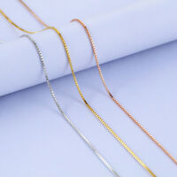 3 Colors Classic Genuine s925 Sterling Silver Box Chain Necklace 16''-18''