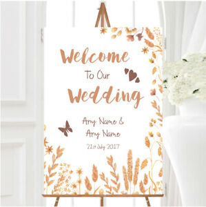 Golden Autumn Leaves Watercolour Personalised Any Wording Welcome Wedding Sign