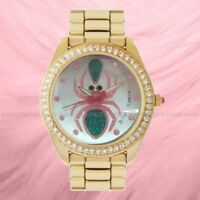 NWT🕷 Betsey Johnson BJ00249-63BX Green Pink Spider Gold Tone Crystals BF Watch