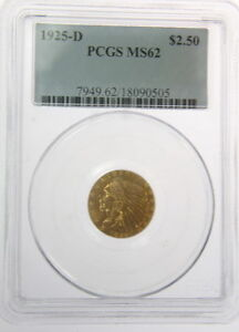 1925 D $2.50 Dollar Indian Head Gold Coin PCGS MS62