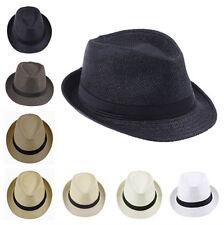 Kids Children Boy Girl Fedora Hats Trilby Cap Panama Straw Sunhat Sunbonnet Jazz