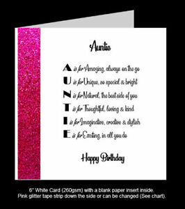 'Auntie' Poem Birthday Card, Special Auntie Birthday, Amazing Auntie