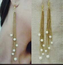 Beautiful Golden Long  Chain Tassel Party Pearl  Drop Dangle earrings