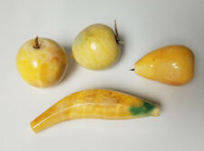 Alabaster Stone Paperweight fruit Banana Pear Apple and Lemon