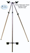 Parker Angling 3-5ft Tescopic Tripod with Double V-Head & Cups