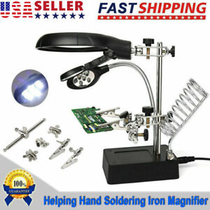 Helping Hand Soldering lron With Magnifier Magnifying Glass Lens LED Light Stand