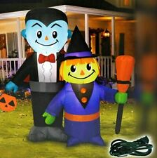 "Halloween Vampire & Witch Airblown Inflatable 4"" Light-Up"