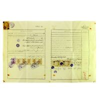 Antique Ottoman Empire's Handwritten Manuscript Document with Photo & Stamps