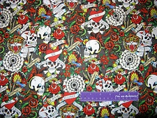 ED HARDY Love Is True Skull Roses Heart Pack Gray Cotton Fabric BY THE HALF YARD