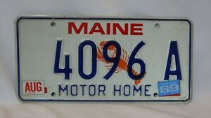 Aug. 1989 Stickers on MAINE Lobster License Plate 4096 A - MOTOR HOME