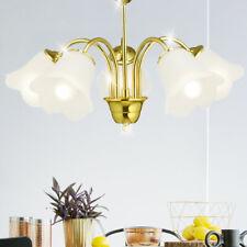 Antik Pendel Decken Hänge Leuchte Kronleuchter Jungendstil Messing Gold Lampe