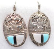 mother of pearl earrings, 10 grams Sterling silver Zuni inlay turquois, onyx &