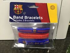 OFFICIALLY LICENSED FC BARCELONA BRACELET BANDS 3 ASSORTED ONE SIZE FITS ALL