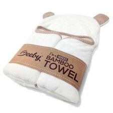 "Bamboo Baby Hooded Bath Towel 38""x28"" & Washcloth 10""x10"" 2 in 1 Set White"